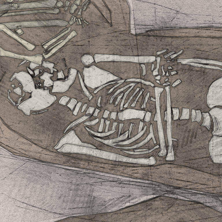 A drawing of skeleton with codename Ealdor-mann as discovered in the bowl hole graveyard
