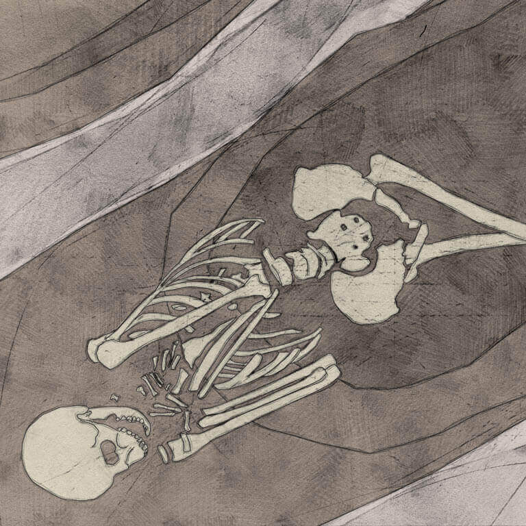 A drawing of skeleton with codename Ærċe-biscop as discovered in the bowl hole graveyard