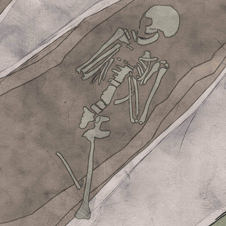 A drawing of skeleton with codename Untwēoġendlic as discovered in the bowl hole graveyard