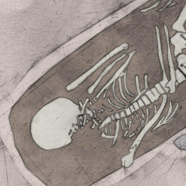 A drawing of skeleton with codename Ġe-bolgen as discovered in the bowl hole graveyard