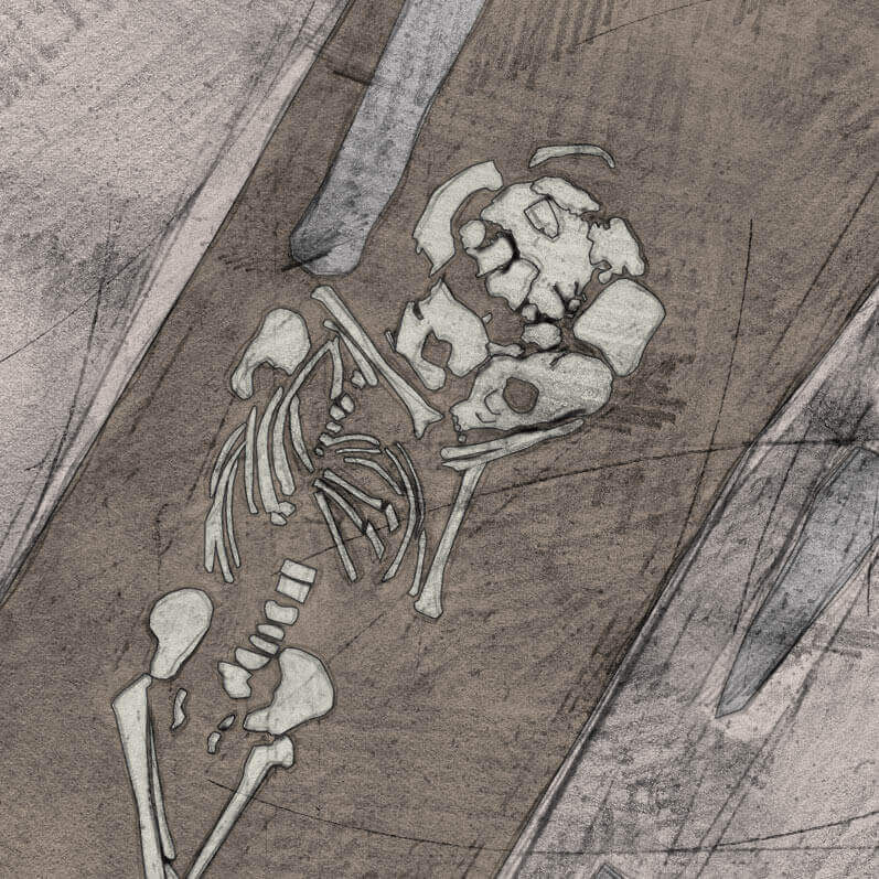 A drawing of skeleton with codename Unfrið as discovered in the bowl hole graveyard