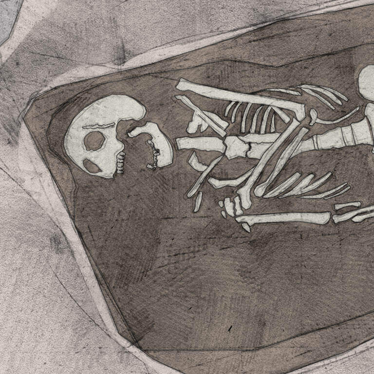 A drawing of skeleton with codename Bolster as discovered in the bowl hole graveyard