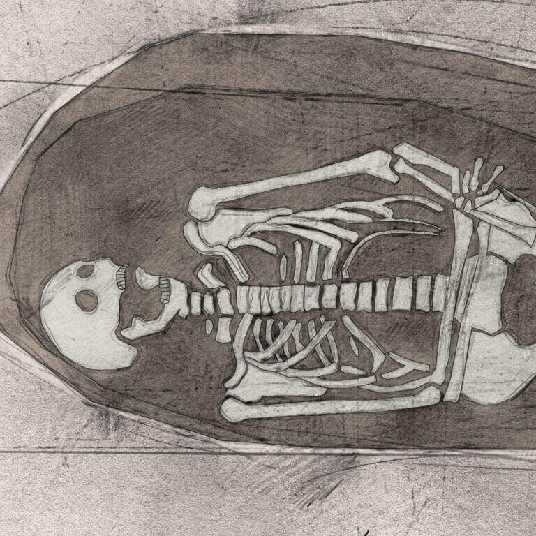 A drawing of skeleton with codename Attercoppe as discovered in the bowl hole graveyard