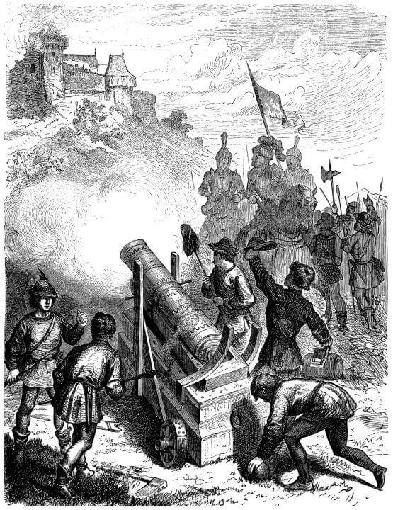 Drawing of 15th or 16th century cannon firing on fortification