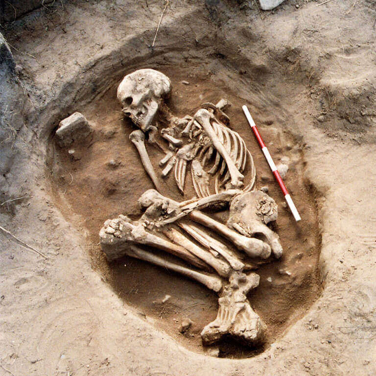 A skeleton buried in a crouching position